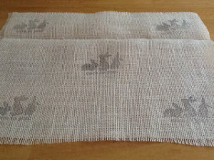 Hand stamped Easter burlap placemats