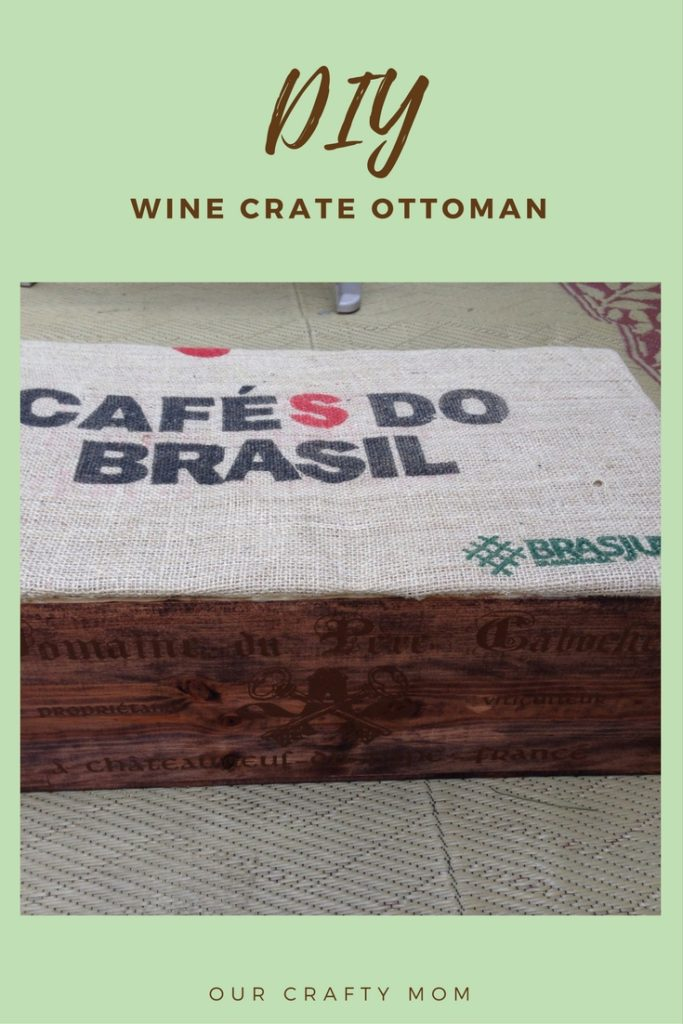 Wine Crate Ottoman DIY Our Crafty  Mom