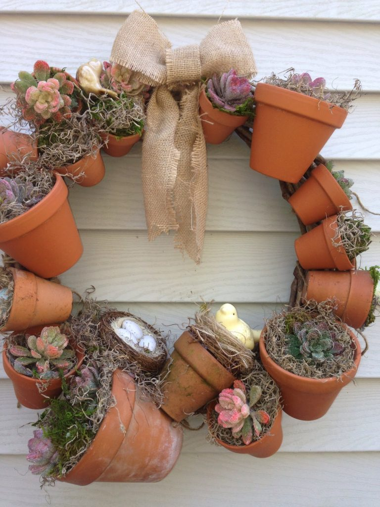 DIY CLAY POT WREATH WITH SUCCULENTS