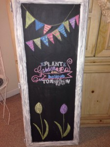 Old Door Mirror turned Chalkboard Art