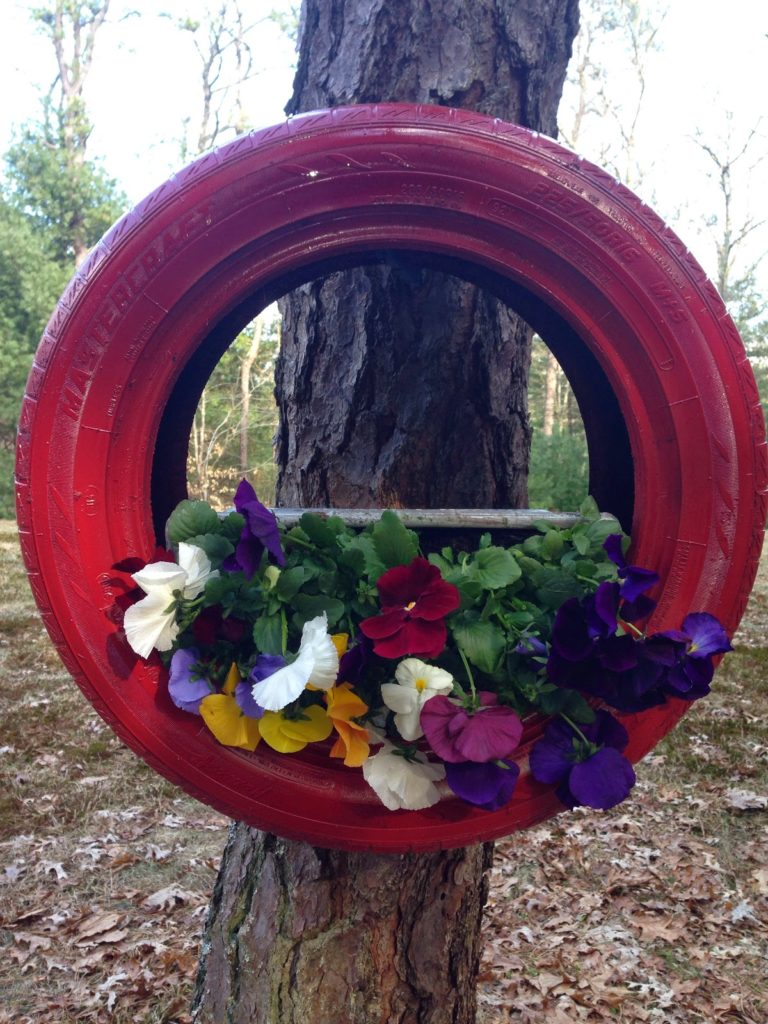 Old Tire Turned Planter Our Crafty Mom