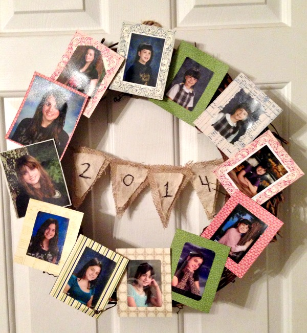 Graduation Photo Wreath Our Crafty Mom #graduationphotowreath #graduationwreath #graduationideas