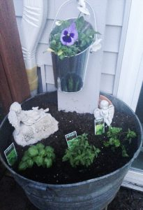 washtub herb container garden