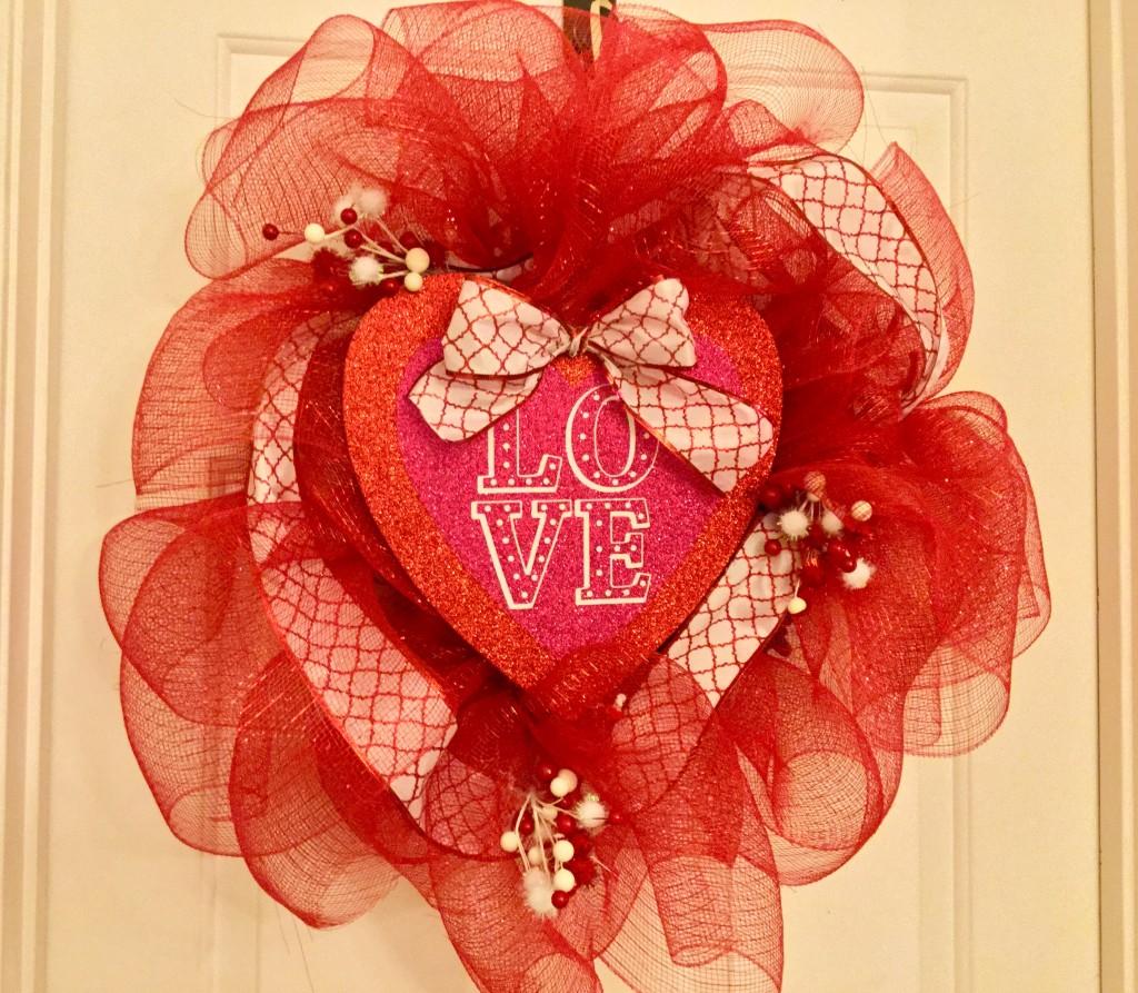 Valentine S Day Dollar Tree Deco Mesh Wreath Our Crafty Mom