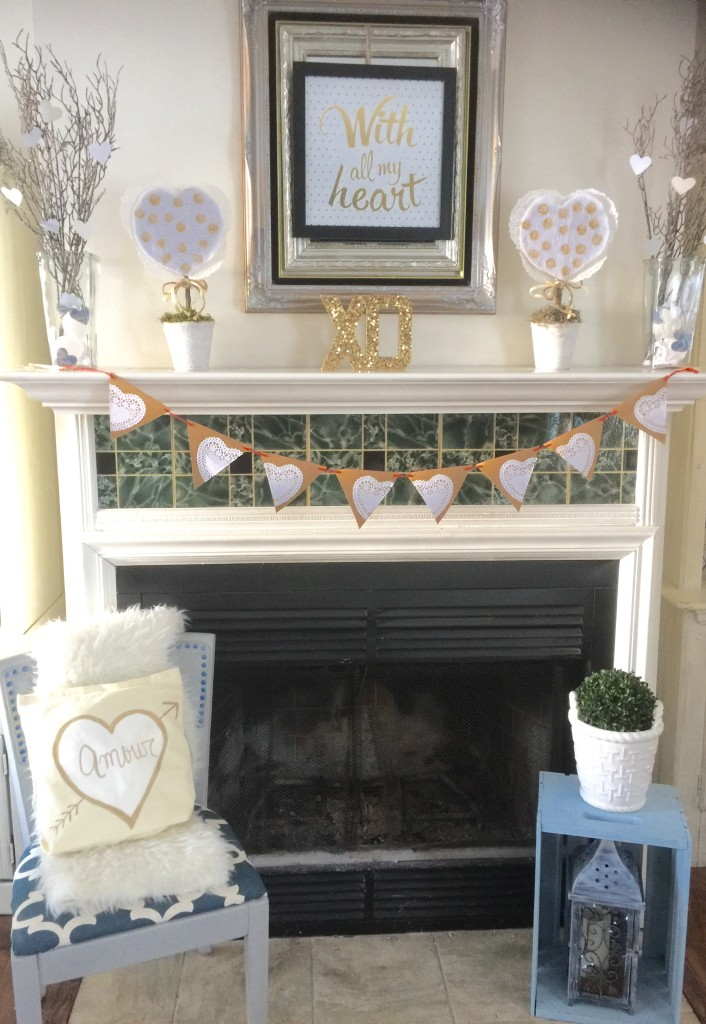 Neutral Valentine's Day Mantel