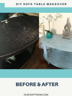 before and after sofa table makeover