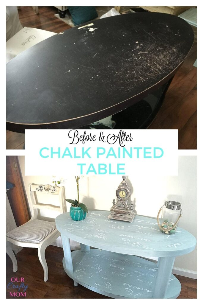 diy chalk painted sofa table before and after