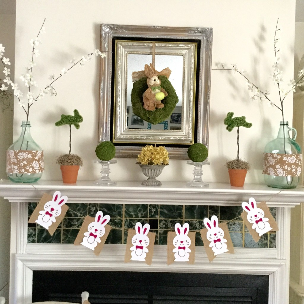 Pottery Barn Inspired Moss Spring Mantel
