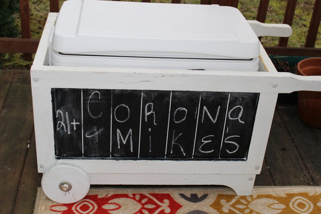 garden wagon turned chalkboard cooler