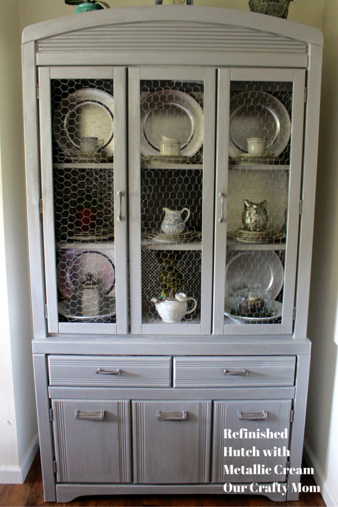 Refinished Hutch Using Metallic Cream