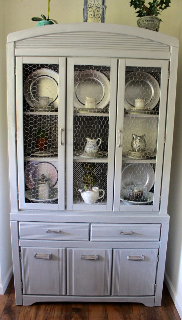 Silver Metallic Hutch