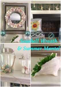 DIY Seashell Wreath & Summer Mantel