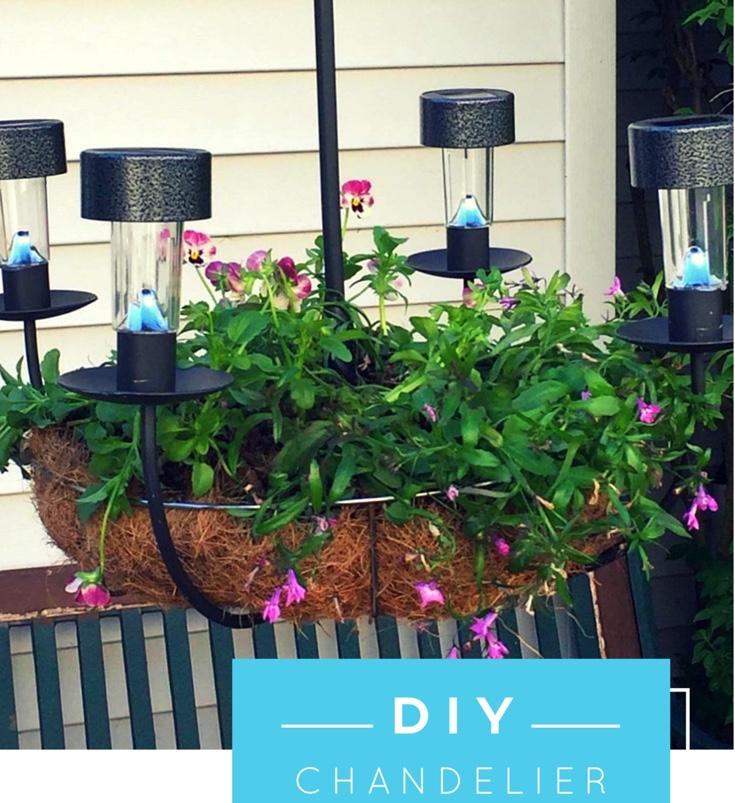 DIY SOLAR CHANDELIER PLANTER Our Crafty Mom #outdoorplanter #solarplanter