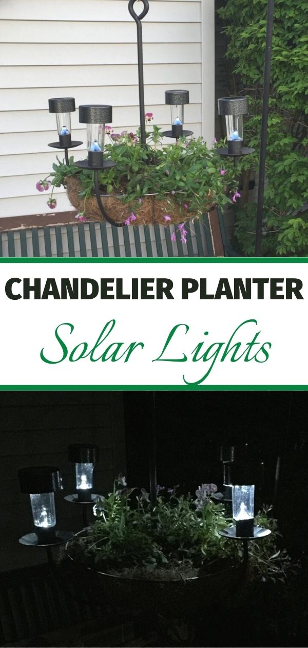 diy chandelier planter during the day and at night