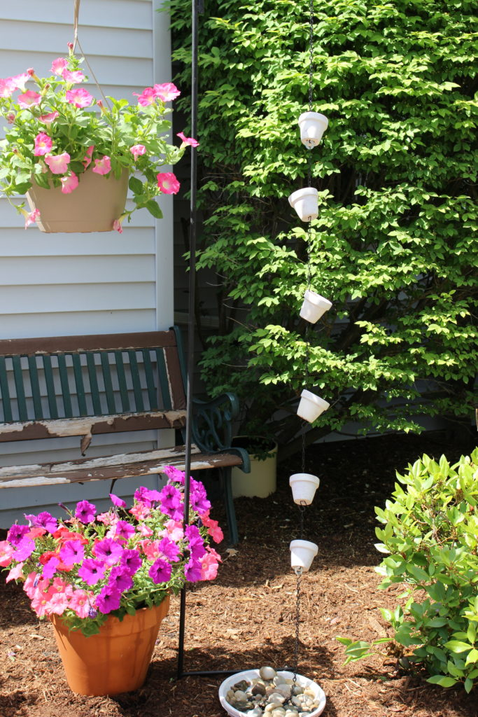 DIY Clay Pot Rain Chain #ourcraftymom #DIY #claypot #rainchain