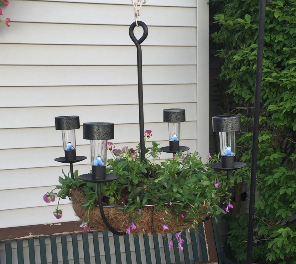 Solar Light Chandelier Planter DIY SOLAR CHANDELIER PLANTER Our Crafty Mom #outdoorplanter #solarplanter