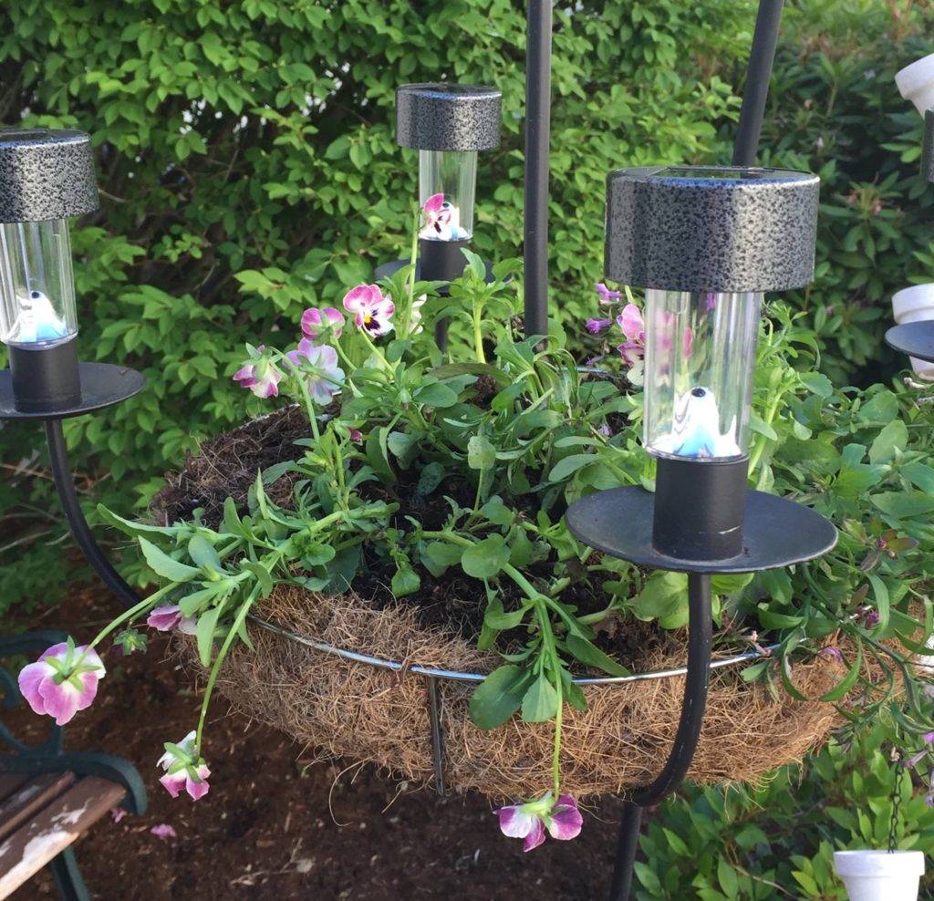 Diy chandelier planter upcycle challenge our crafty mom for Solar light chandelier diy