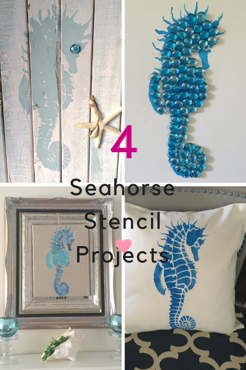 Four Easy DIY Projects Using Seahorse Stencil - Our Crafty Mom