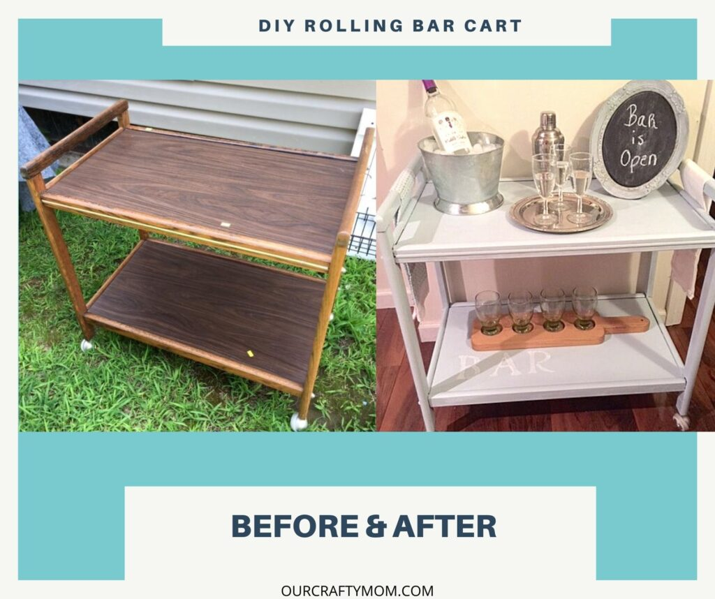 before & after diy rolling bar cart