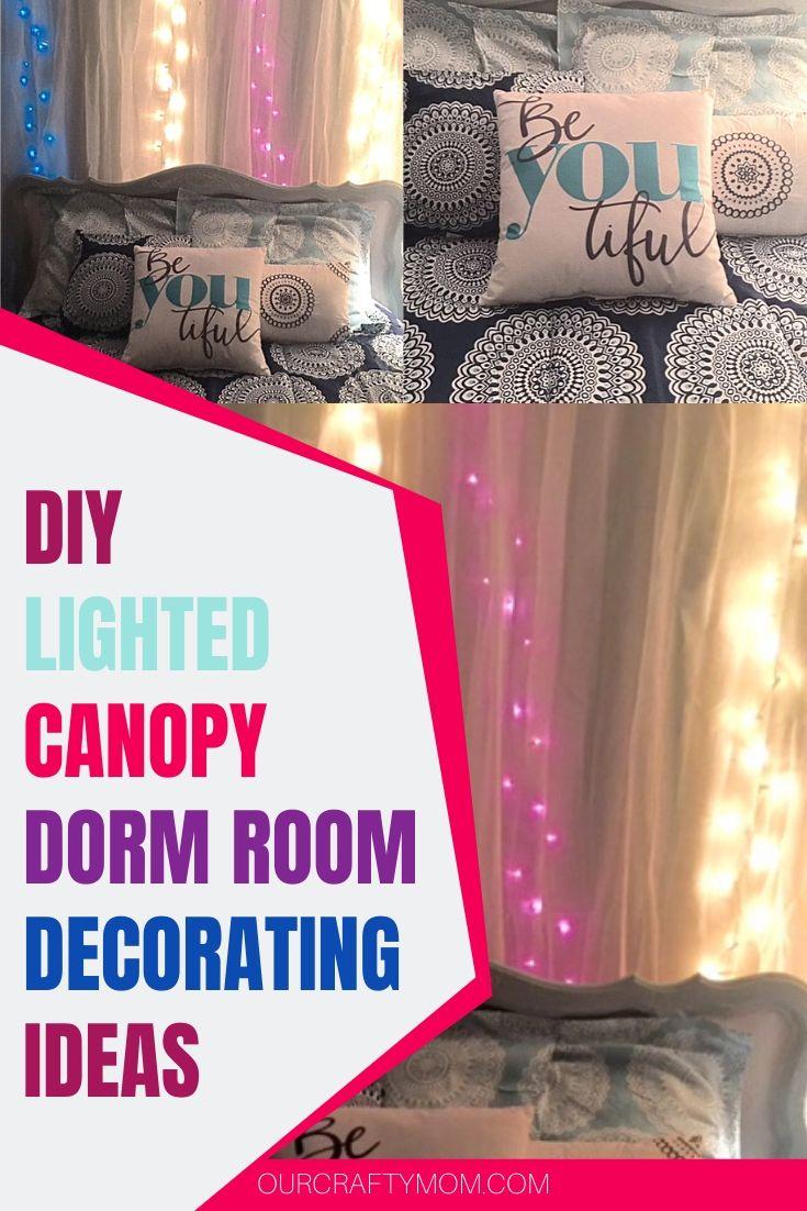 diy lighted canopy dorm room