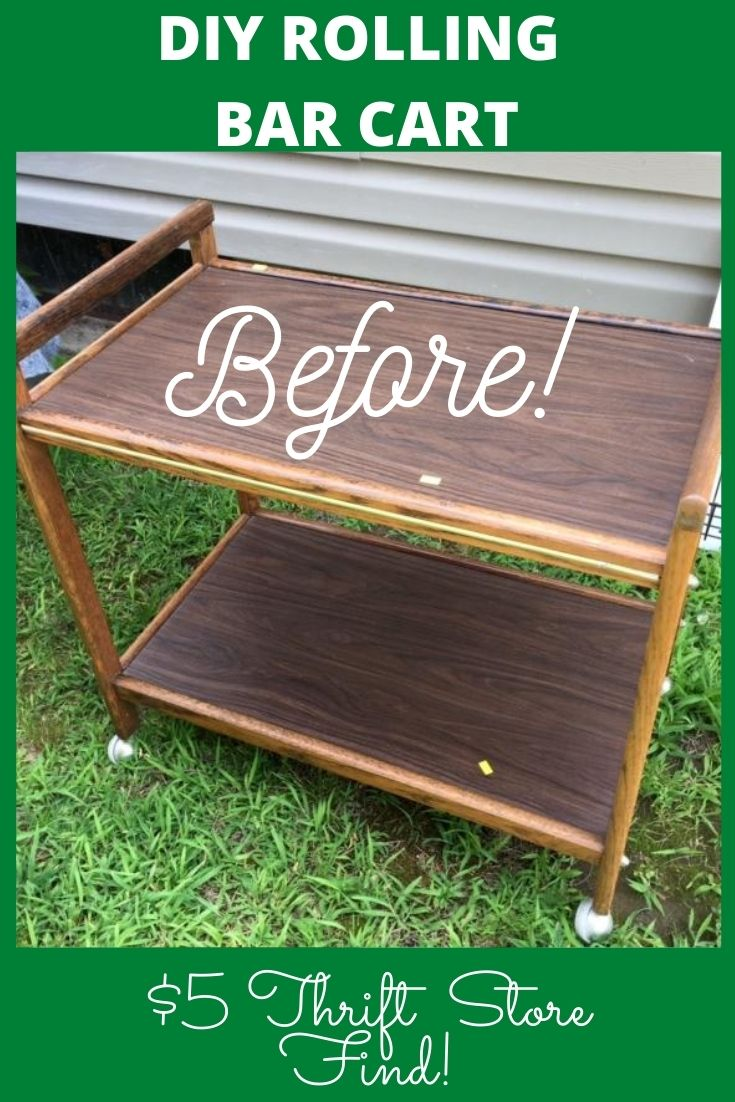 diy rolling bar cart before