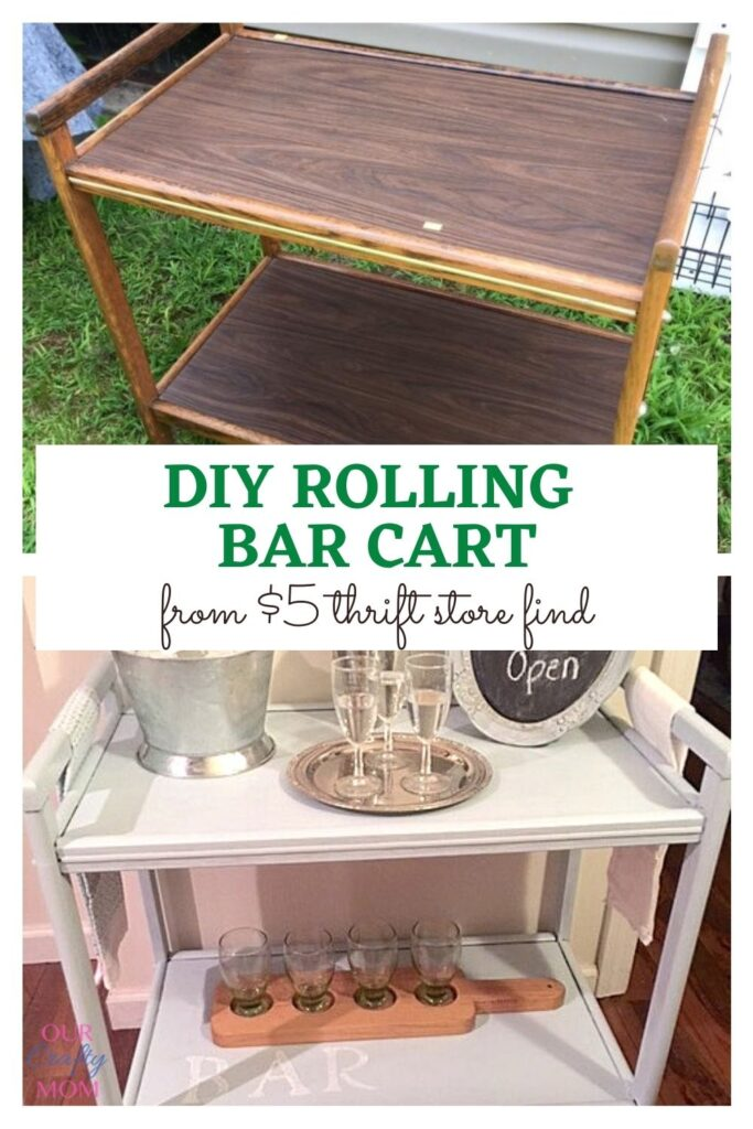 rolling bar cart makeover