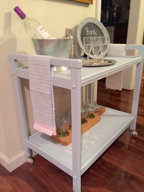 side view of diy rolling bar cart