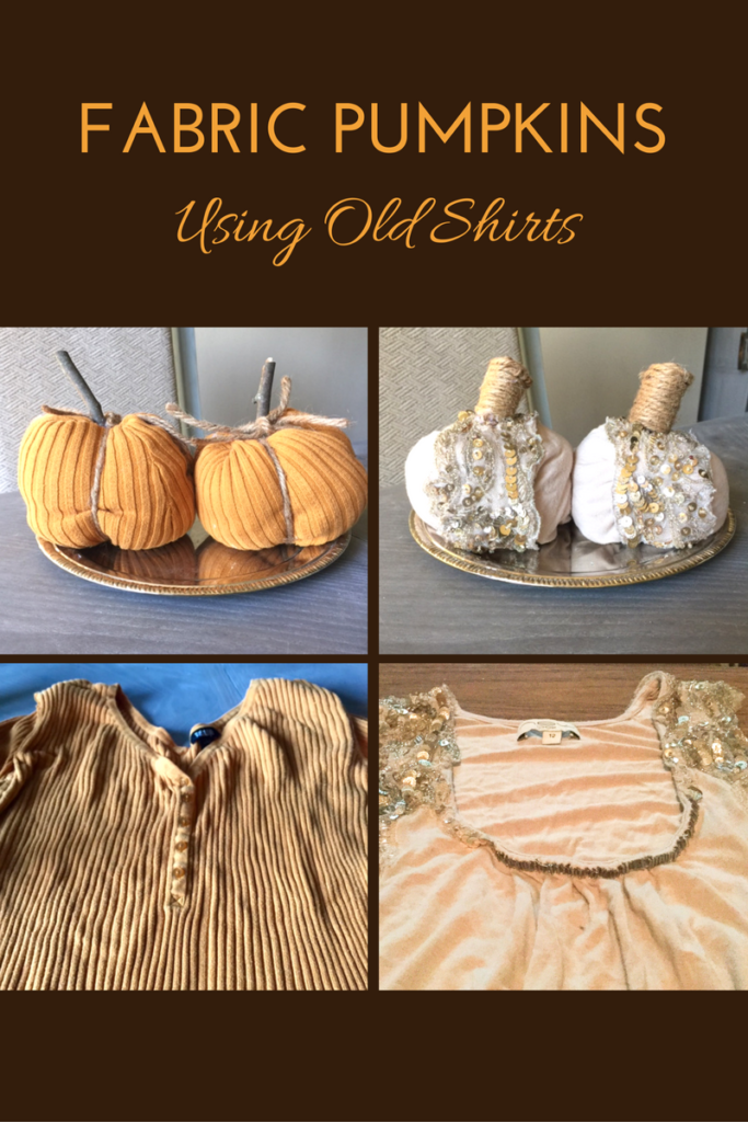 DIY Fabric Pumpkins Using Old Shirts