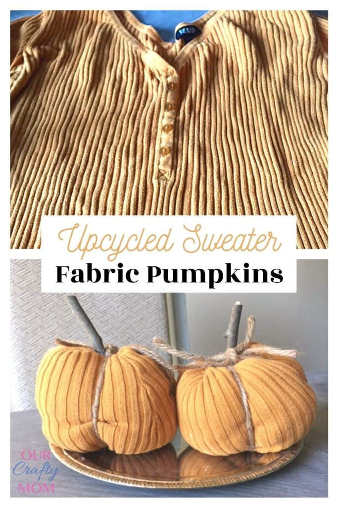 upcycled sweaters into fabric pumpkins