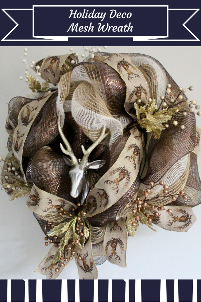 Copper and Gold Deco Mesh Holiday Wreath Our Crafty Mom