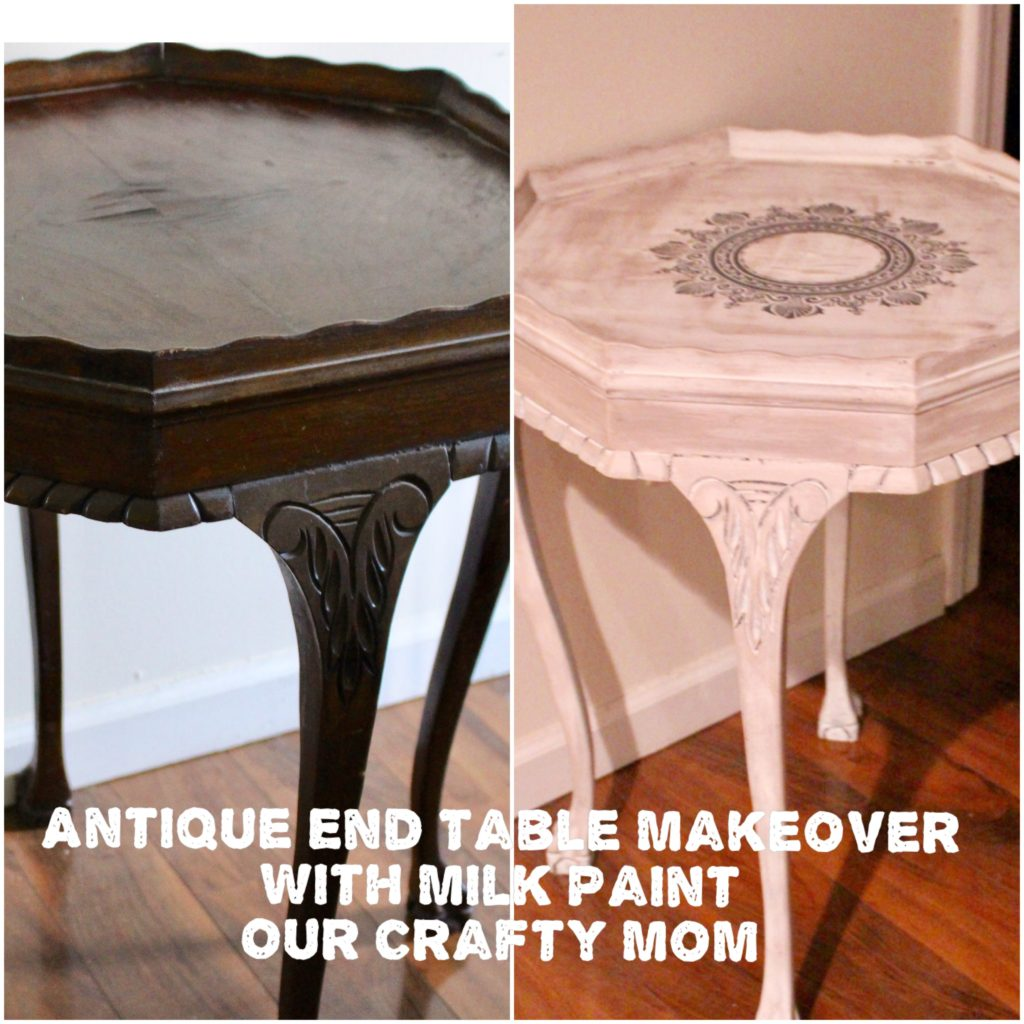 Antique End Table Makeover With Milk Paint Our Crafty Mom