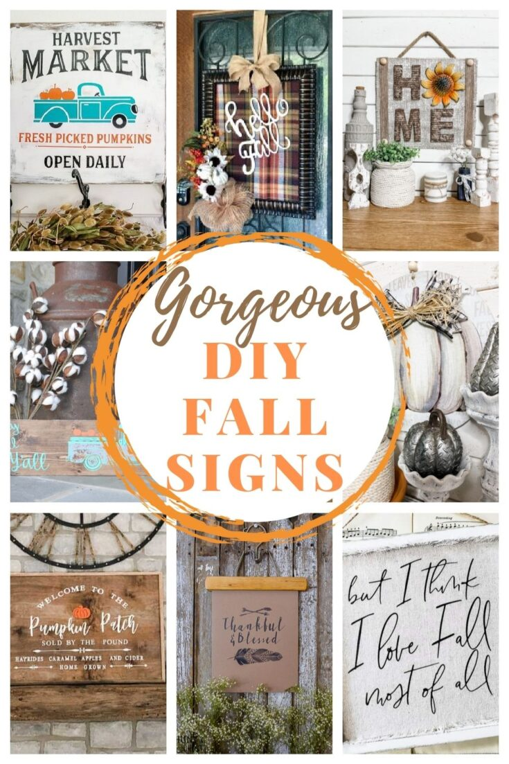 diy fall wood signs pin collage with text overlay