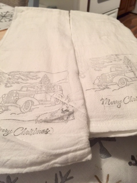 Hand Stamped Holiday Flour Sack Napkins Our Crafty Mom