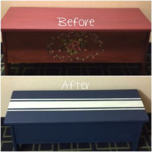 Grain Sack Stripe Painted Bench With Velvet Finishes Our Crafty Mom