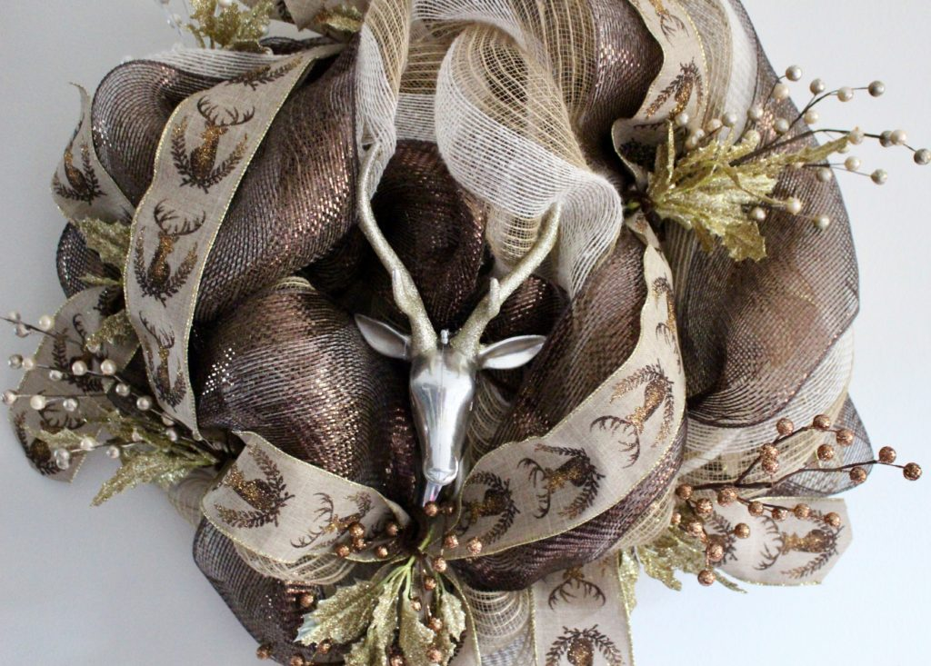 copper and gold deco mesh deer wreath