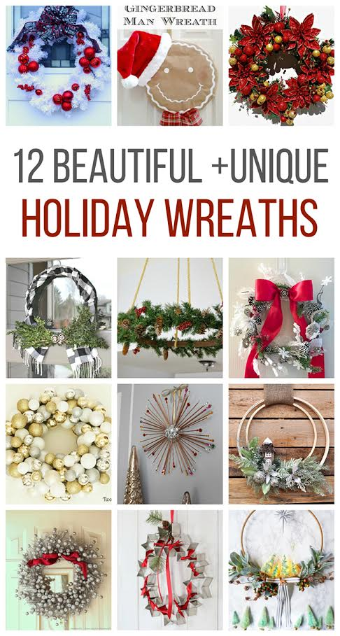 12 christmas wreaths collage