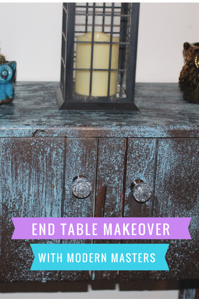 End Table Makeover With Modern Masters Metal Effects Our Crafty Mom