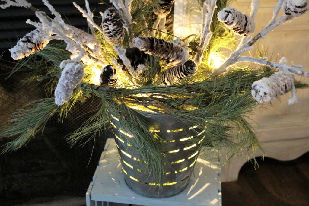 Winter Decorating Ideas Using Olive Buckets
