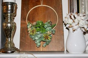 DIY Faux Succulent Embroidery Hoop Wreath