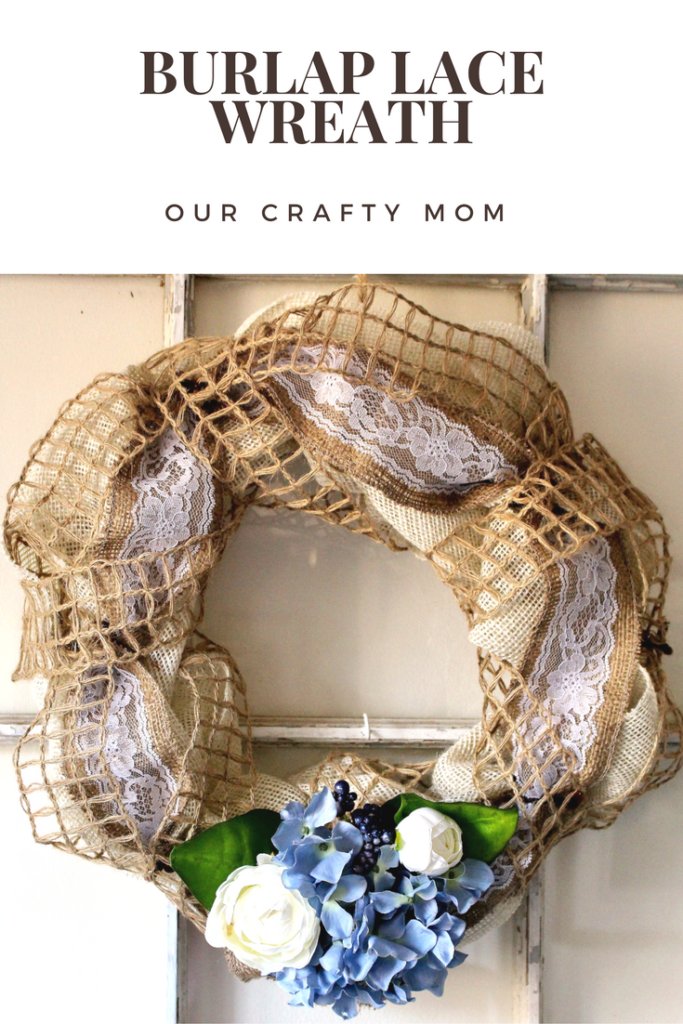 January Crafty Destash Challenge-Burlap Lace Wreath Our Crafty Mom