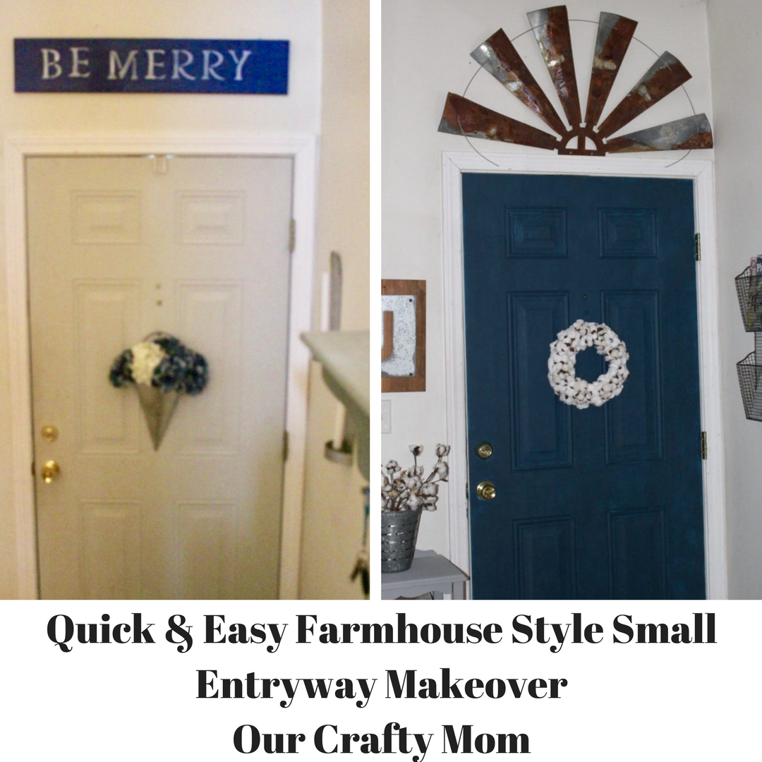 Quick & Easy Farmhouse Style Small Entryway Makeover Our Crafty Mom