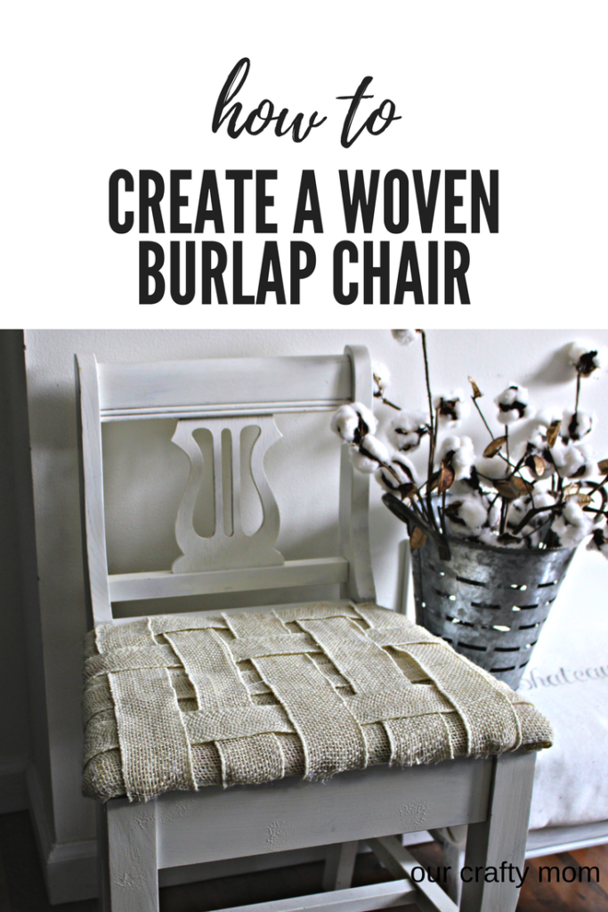 How to update an old chair with woven burlap our crafty mom