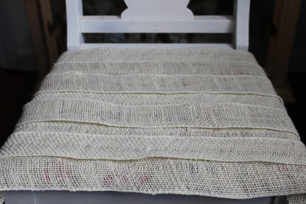 How To Update An Old Chair With Burlap Our Crafty Mom