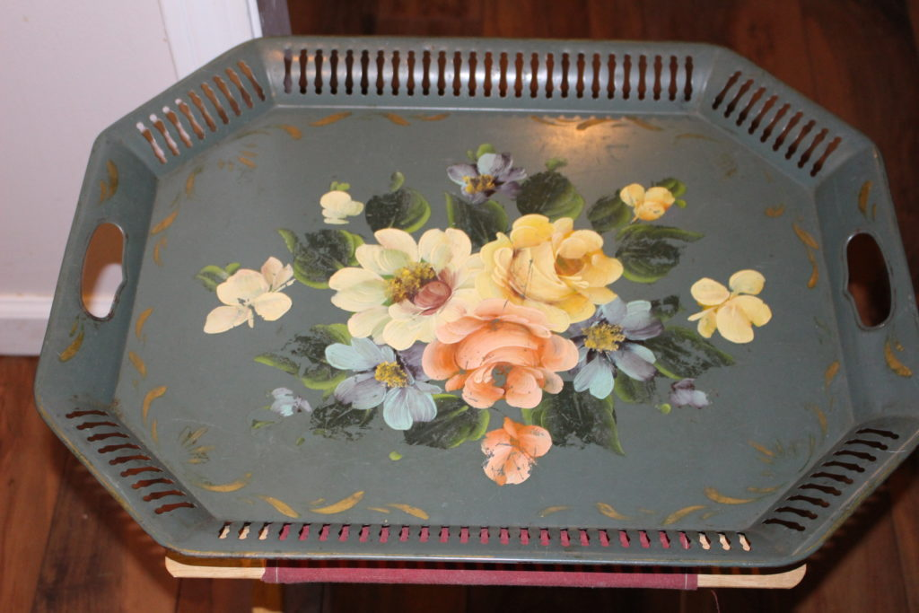 Thrift Store Decor Upcycle-Side Table Serving Tray Our Crafty Mom