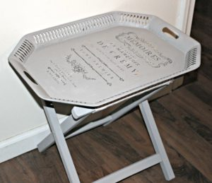 Thrift Store Decor Upcycle-Side Table Serving Tray