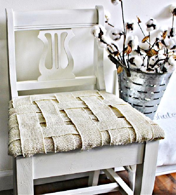 woven burlap chair