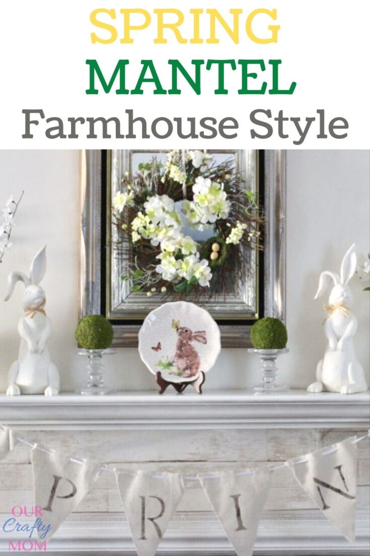 spring mantel with white bunnies and banner