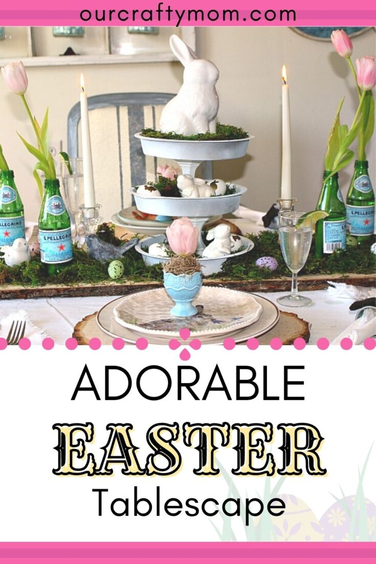 adorable Easter table with white bunny