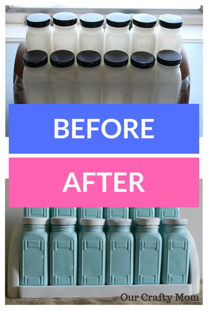 Craft Destash Challenge Milk Glass Spice Rack Update Our Crafty Mom 3