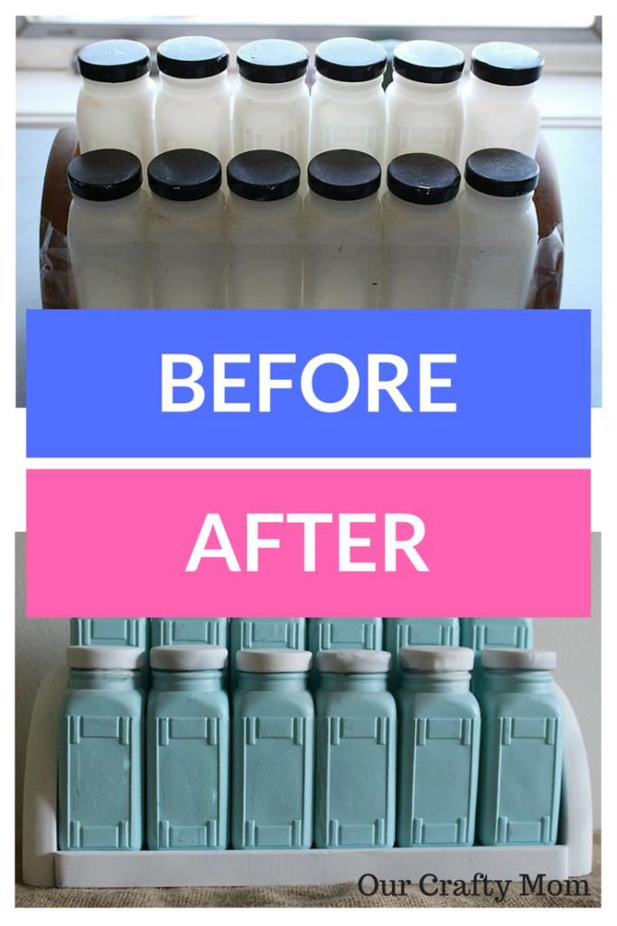 Craft Destash Challenge Milk Glass Spice Rack Update Our Crafty Mom 3